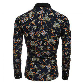 Men's Party Going out Club Vintage Active Chinoiserie All Seasons Shirt Floral Standing Collar Long Sleeves Polyester shirt - BLACK BLACK