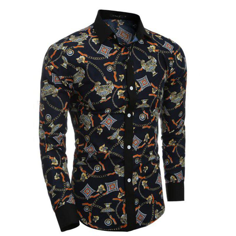 Men's Party Going out Club Vintage Active Chinoiserie All Seasons Shirt Floral Standing Collar Long Sleeves Polyester shirt - BLACK L
