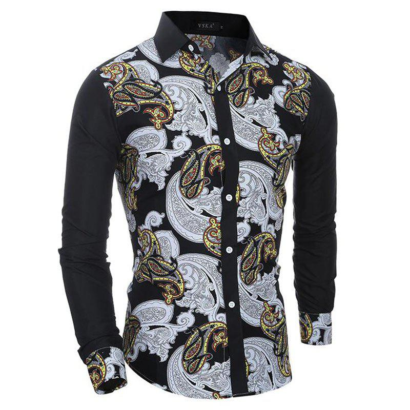 Men's Casual Print Slim Fit Long Sleeve Shirt - BLACK XL