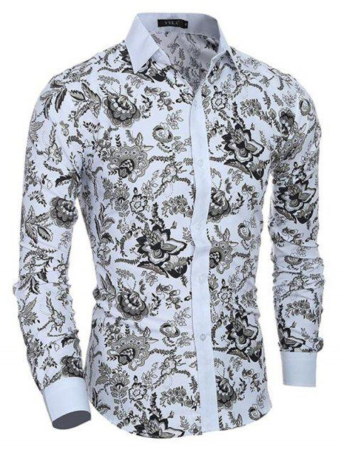 Men's Casual/Daily Simple Spring Fall Shirt Print Long Sleeves Cotton - WHITE 2XL