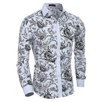 Men's Casual/Daily Simple Spring Fall Shirt Print Long Sleeves Cotton - WHITE WHITE