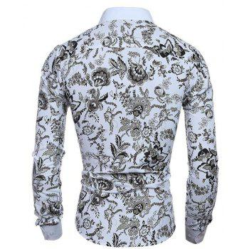 Men's Casual/Daily Simple Spring Fall Shirt Print Long Sleeves Cotton - WHITE XL