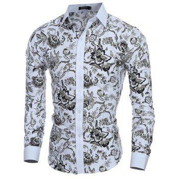 Men's Casual/Daily Simple Spring Fall Shirt Print Long Sleeves Cotton - WHITE M