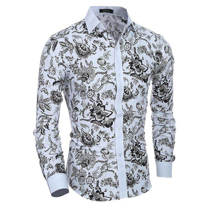 Men's Casual/Daily Simple Spring Fall Shirt Print Long Sleeves Cotton - WHITE L