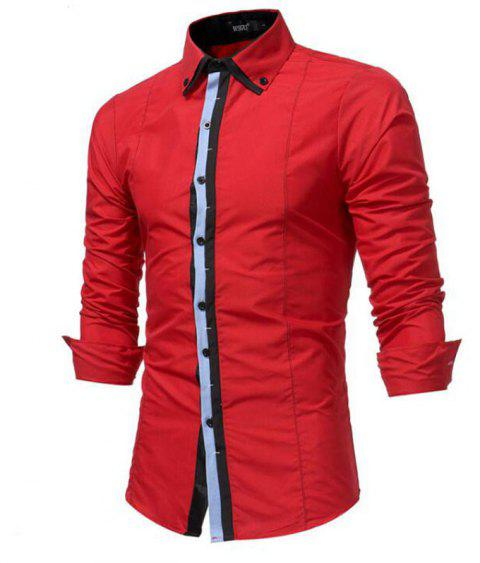 Men's Casual Daily Simple Spring Fall Shirt Solid Classic Collar Long Sleeves Cotton Polyester - RED L