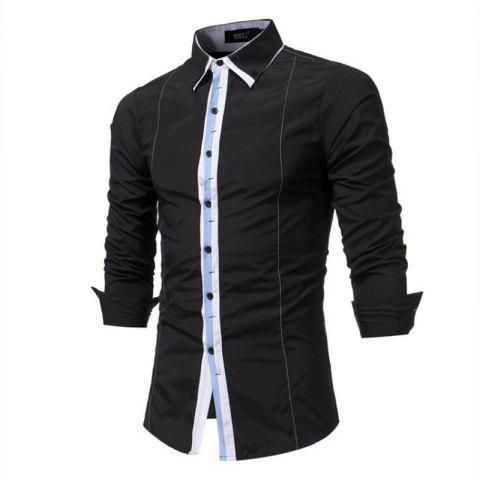 Men's Casual Daily Simple Spring Fall Shirt Solid Classic Collar Long Sleeves Cotton Polyester - BLACK XL
