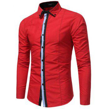 Men's Casual Daily Simple Spring Fall Shirt Solid Classic Collar Long Sleeves Cotton Polyester - RED XL