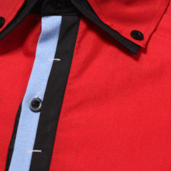 Men's Casual Daily Simple Spring Fall Shirt Solid Classic Collar Long Sleeves Cotton Polyester - RED 2XL