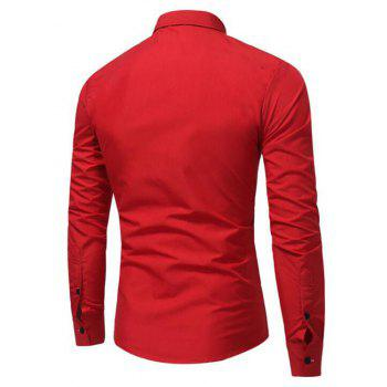 Men's Casual Daily Simple Spring Fall Shirt Solid Classic Collar Long Sleeves Cotton Polyester - RED 3XL
