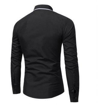 Men's Casual Daily Simple Spring Fall Shirt Solid Classic Collar Long Sleeves Cotton Polyester - BLACK 2XL