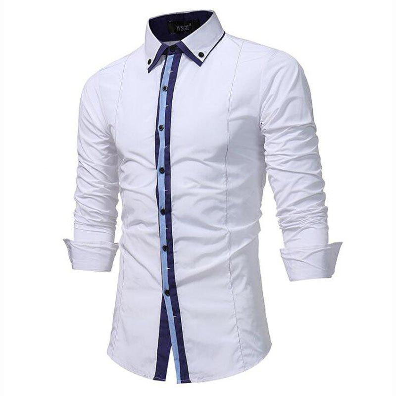 Men's Casual Daily Simple Spring Fall Shirt Solid Classic Collar Long Sleeves Cotton Polyester men s casual daily simple shirt check stand long sleeves cotton t shirt