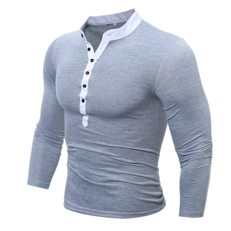 Men's Casual Daily Plus Size Simple Spring Fall T-shirt Solid Stand Long Sleeves Cotton Polyester Thin T-shirt men s casual daily simple shirt check stand long sleeves cotton t shirt