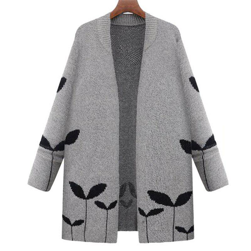 Plus Size Casual Travail quotidien Vintage Simple Street Chic Cardigan long - gris 2XL