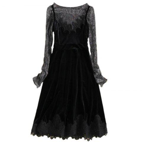 Women's  Casual Daily Work Sexy Vintage Street chic Shift Dress - BLACK 2XL