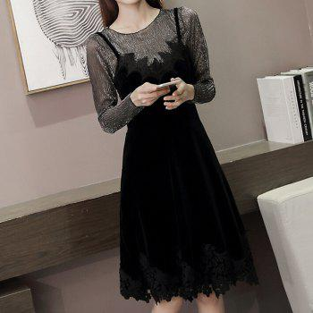Women's  Casual Daily Work Sexy Vintage Street chic Shift Dress - BLACK BLACK