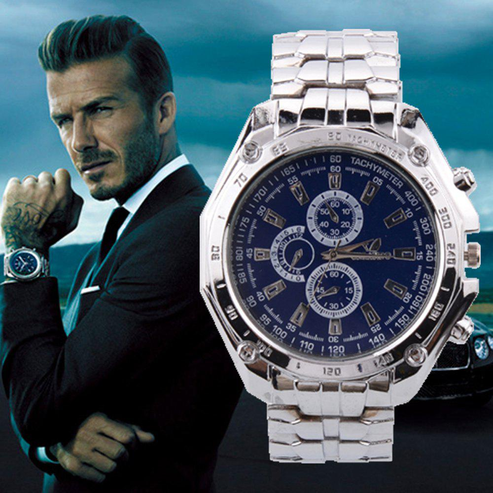 New Men'S Watch Classic Silver Steel Atmospheric Outdoor Three Business Watch + Gift Box от Dresslily.com INT