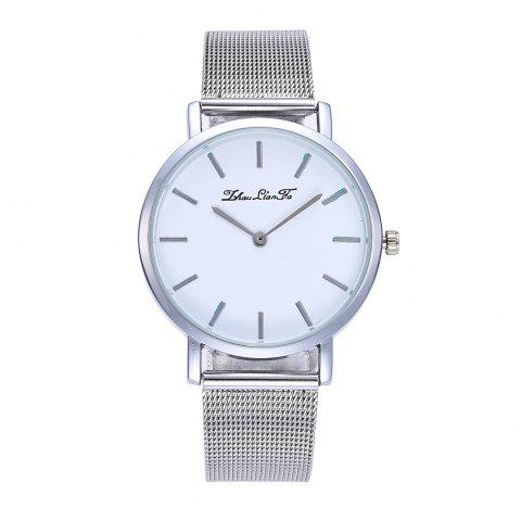 Stylish New Personality Fashion Quartz Watch Men and Women Nets Simple Style Neutral Watch with Gift Box - SILVER