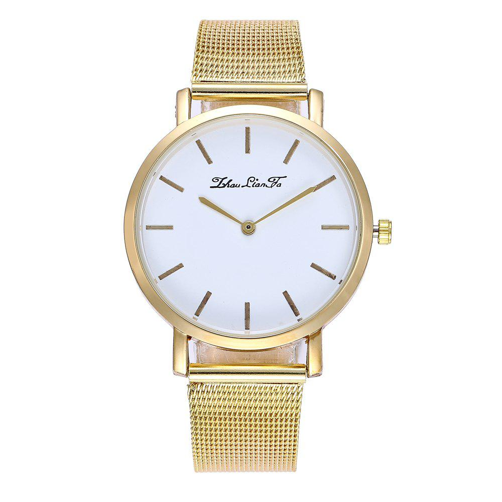 Stylish New Personality Fashion Quartz Watch Men and Women Nets Simple Style Neutral Watch with Gift Box - GOLDEN