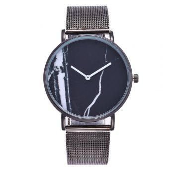 Popular Personality Fashion Quartz Watch Simple Style Nets with Marble Texture Neutral Watch with Gift Box - BLACK BLACK