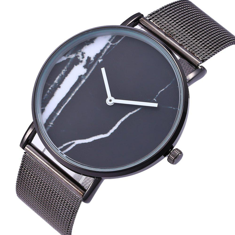 Popular Personality Fashion Quartz Watch Simple Style Nets with Marble Texture Neutral Watch with Gift Box - BLACK