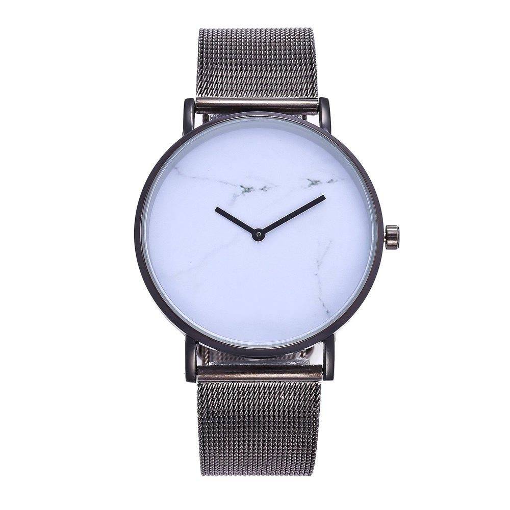 Popular Personality Fashion Quartz Watch Simple Style Nets with Marble Texture Neutral Watch with Gift Box - WHITE