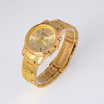 New Popular Fashion Personality Quartz Watch Men and Women Business Style Strap Neutral Watch with Gift Box -  GOLDEN