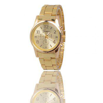 New Popular Fashion Personality Quartz Watch Men and Women Business Style Strap Neutral Watch with Gift Box - GOLDEN GOLDEN
