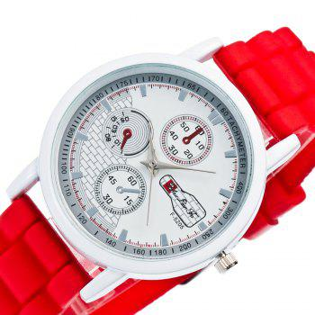 Popular Men and Women Quartz Watch Fashion Style Silicone Strap Neutral Watch with Gift Box -  RED