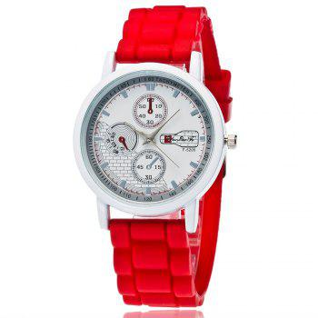 Popular Men and Women Quartz Watch Fashion Style Silicone Strap Neutral Watch with Gift Box - RED RED