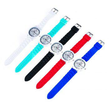 Popular Men and Women Quartz Watch Fashion Style Silicone Strap Neutral Watch with Gift Box -  BLACK