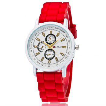 New Popular Quartz Watch Fashion Minimalist Style Silicone Strap Classic Watch with Gift Box - RED RED
