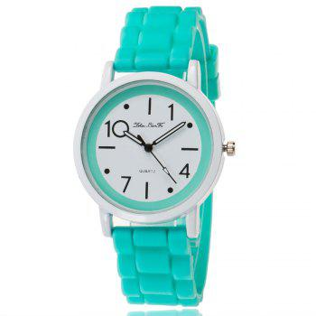 New Popular Watch Cute Minimalist Style Silicone Strap Temperament Classic Watch with Gift Box - GREEN GREEN