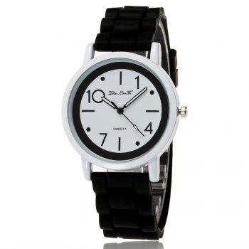 New Popular Watch Cute Minimalist Style Silicone Strap Temperament Classic Watch with Gift Box - BLACK BLACK