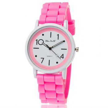 New Popular Watch Cute Minimalist Style Silicone Strap Temperament Classic Watch with Gift Box - PINK PINK