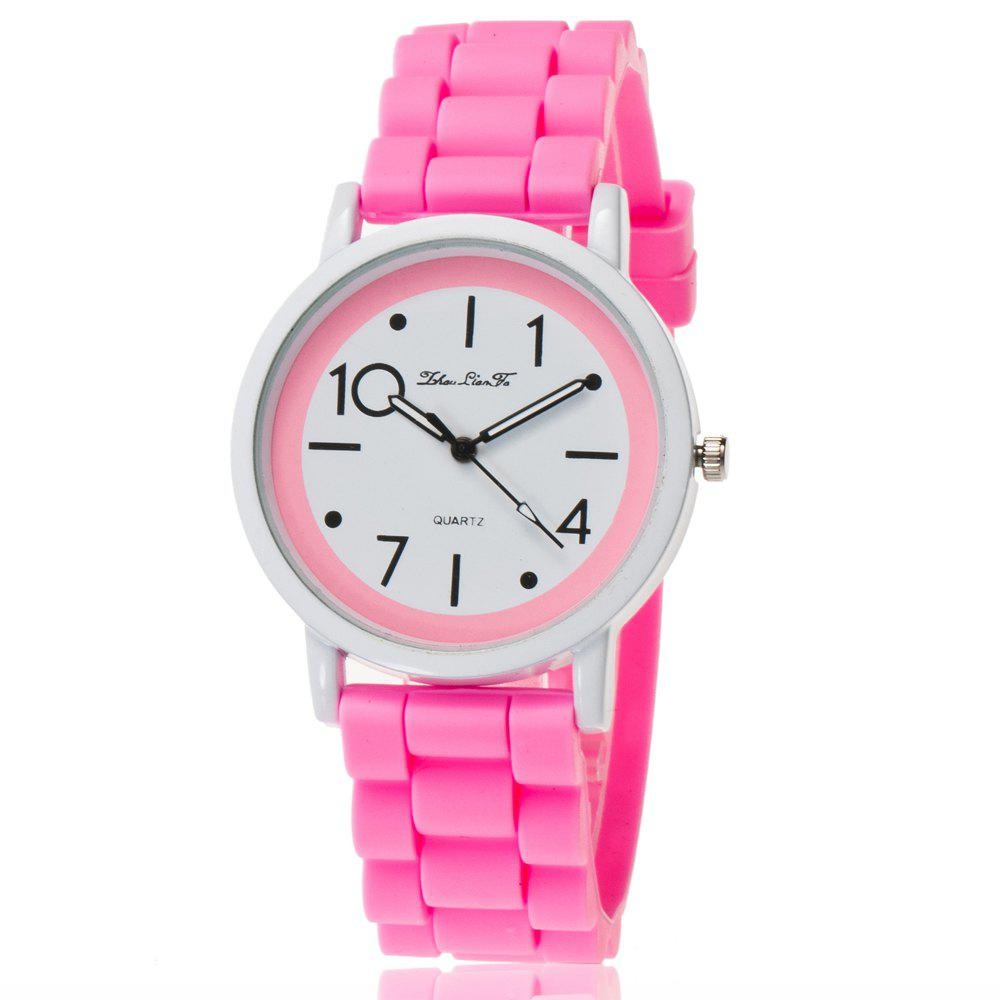 New Popular Watch Cute Minimalist Style Silicone Strap Temperament Classic Watch with Gift Box - PINK