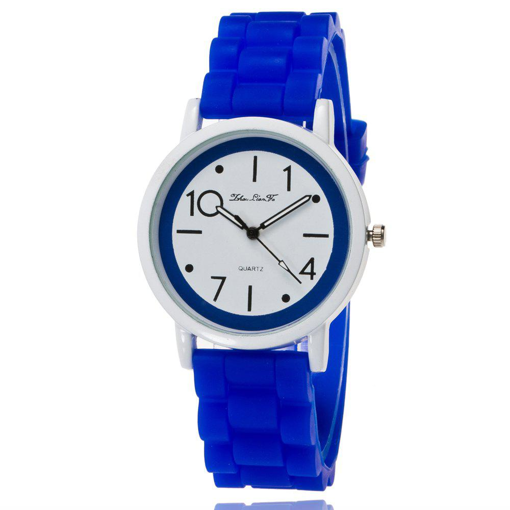 New Popular Watch Cute Minimalist Style Silicone Strap Temperament Classic Watch with Gift Box - BLUE