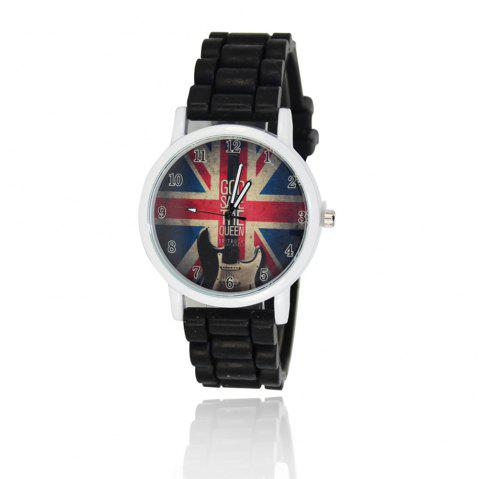 New Simple Fashion Watch Literary Style Watch British Rice Word Shading Silicone Strap with Gift Box - BLACK