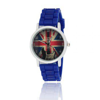 New Simple Fashion Watch Literary Style Watch British Rice Word Shading Silicone Strap with Gift Box - BLUE BLUE