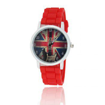 New Simple Fashion Watch Literary Style Watch British Rice Word Shading Silicone Strap with Gift Box - RED RED