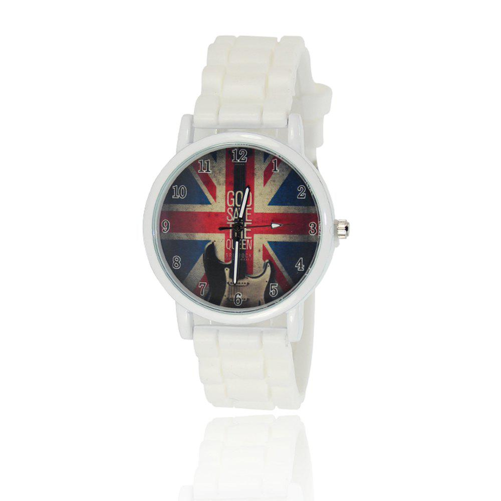 New Simple Fashion Watch Literary Style Watch British Rice Word Shading Silicone Strap with Gift Box - WHITE