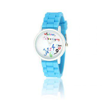 New Fashion Women'S Watch Small Fresh Style Silicone Strap Cute Digital Shades Watch with Gift Box - LIGHT BLUE LIGHT BLUE