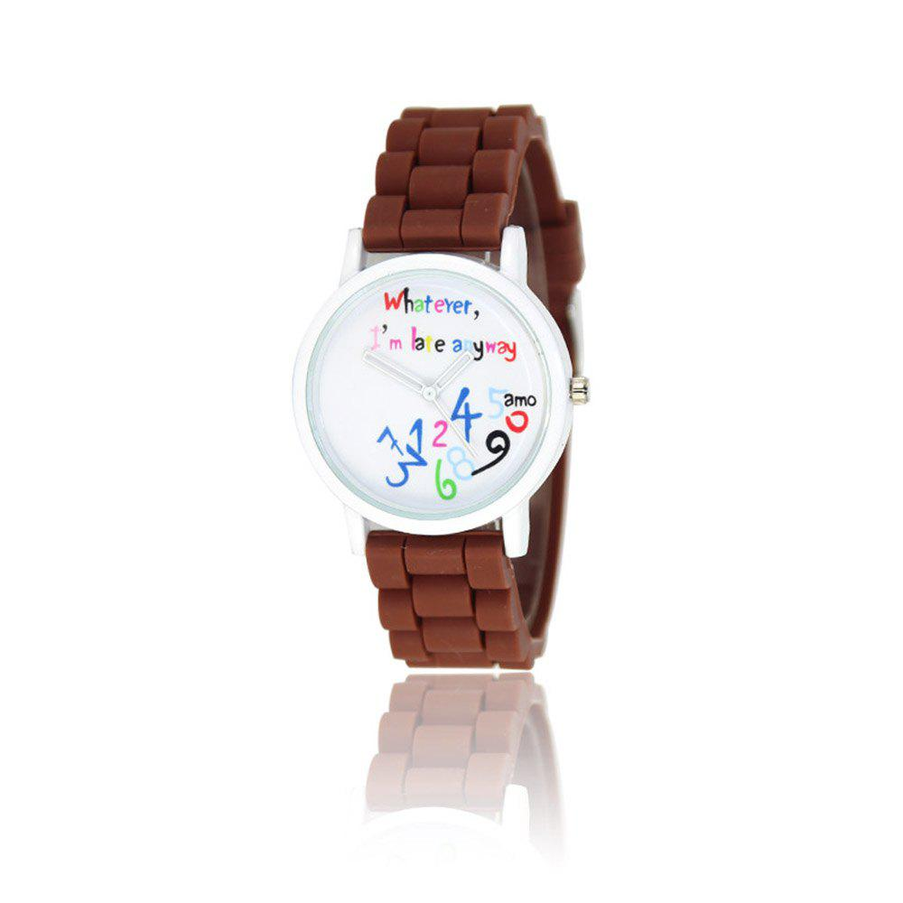 New Fashion Women'S Watch Small Fresh Style Silicone Strap Cute Digital Shades Watch with Gift Box - COFFEE