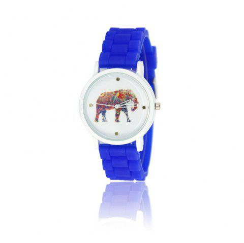 New Fashion Women'S Watch Vintage Style Silicone Strap Color Elephant Shades Popular Watch with Gift Box - BLUE