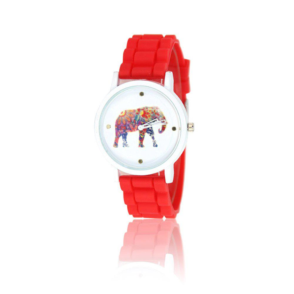 New Fashion Women'S Watch Vintage Style Silicone Strap Color Elephant Shades Popular Watch with Gift Box - RED