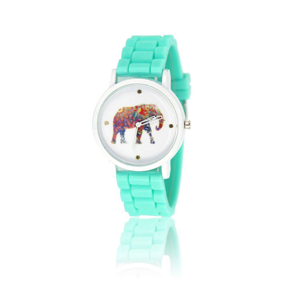 New Fashion Women'S Watch Vintage Style Silicone Strap Color Elephant Shades Popular Watch with Gift Box - MINT