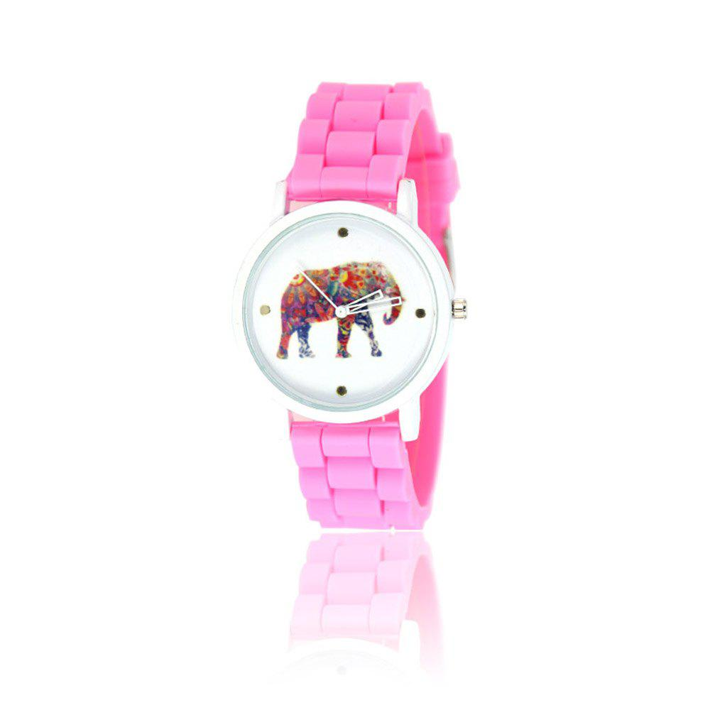 New Fashion Women'S Watch Vintage Style Silicone Strap Color Elephant Shades Popular Watch with Gift Box - ROSE RED
