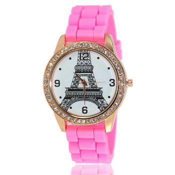 New Fashion Women'S Watch Retro Style Simple Minimalist Silicone Bracelet with Tower Diamond Watch with Gift Box - PINK PINK