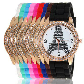 New Fashion Women'S Watch Retro Style Simple Minimalist Silicone Bracelet with Tower Diamond Watch with Gift Box - COFFEE