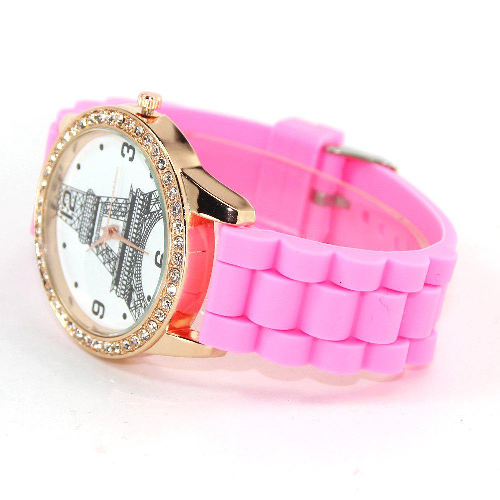 New Fashion Women'S Watch Retro Style Simple Minimalist Silicone Bracelet with Tower Diamond Watch with Gift Box - PINK