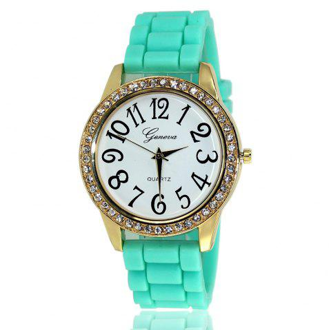 New Fashion Ladies Watch Classic Pop Simple Style Silicone Strap Personalized Diamond Watch with Gift Box - MINT